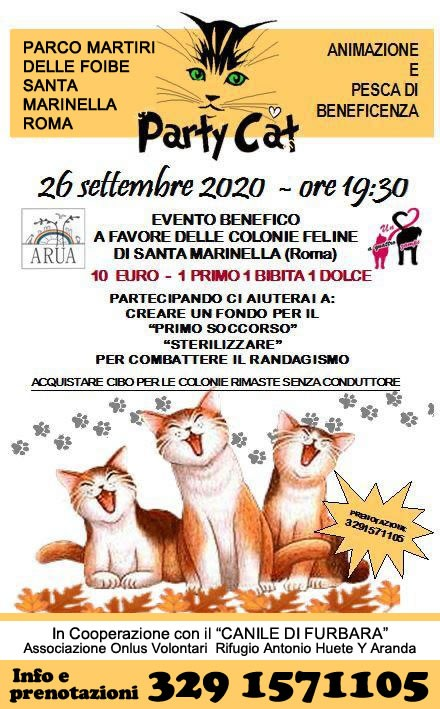 Evento benefico sabato 26 settembre 2020: Party Cat